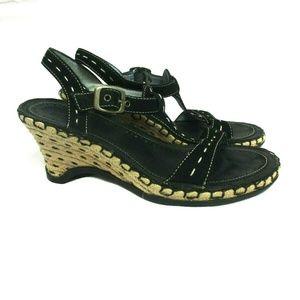 Indigo by Clarks Wedge Sandals Black Leather